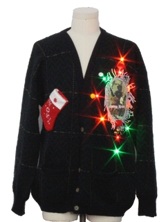 1980's Mens Multicolor Lightup Krampus Ugly Christmas Cardigan Sweater