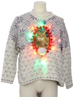 1980's Womens Multicolor Lightup Catmus Ugly Christmas Sweater