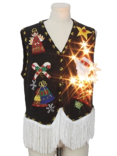 1980's Unisex Hand Embellished Lightup Ugly Christmas Sweater Vest