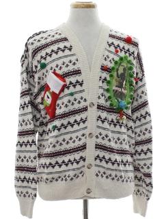 1980's Mens Krampus Ugly Christmas Cardigan Sweater