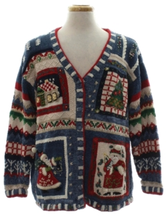1980's Unisex Country Kitsch Ugly Christmas Cardigan Sweater