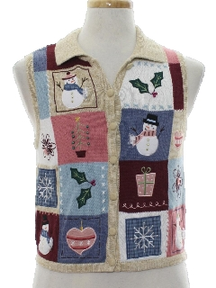 1980's Womens Country Kitsch Style Ugly Christmas Sweater