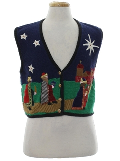 1990's Womens Vintage Ugly Christmas Sweater Vest