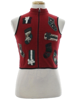 1980's Womens/Girls Country Kitsch  Ugly Christmas Sweater Vest