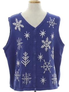 1980's Unisex Ugly Christmas Sweater Snowflake Vest