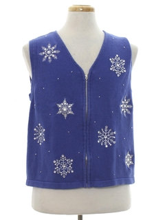 1980's Womens Ugly Christmas Sweater Snowflake Vest