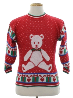 1980's Unisex Girls or Boys Vintage Bear-riffic Ugly Christmas Sweater