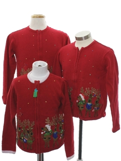 1980's Unisex Kids Ugly Christmas Matching Set of Three Sweaters