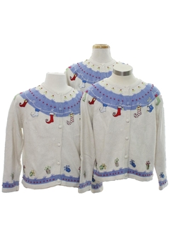 1980's Womens Ugly Christmas Matching Set of Three Sweaters