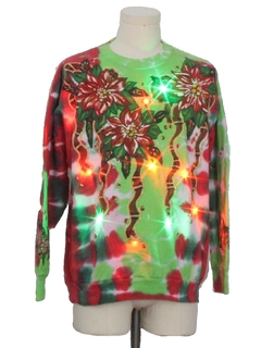 1980's Unisex Vintage Multicolor Lightup  Hand Tie Dyed Ugly Christmas Sweatshirt
