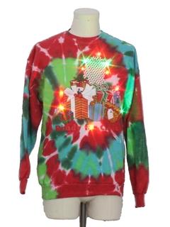1980's Unisex Multicolor Lightup  Hand Tie Dyed Ugly Christmas Sweatshirt
