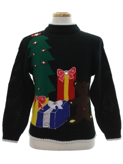 1980's Unisex Ladies or Boys Vintage Bear-riffic Ugly Christmas Sweater