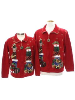 1980's Unisex Bear-riffic Ugly Christmas Matching Set of Sweaters