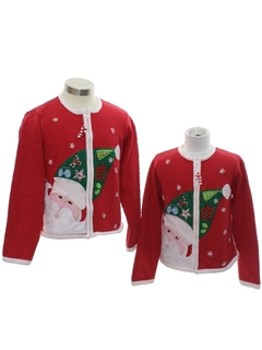 1980's Unisex Girls or Boys Ugly Christmas Matching Set of Sweaters
