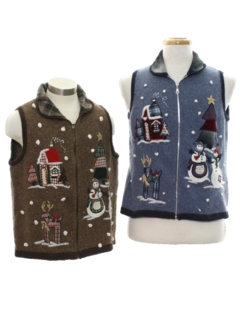 1980's Unisex Country Kitsch Ugly Christmas Matching Set of Sweater Vests