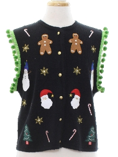1980's Womens Hand Embellished Ugly Christmas Sweater Vest