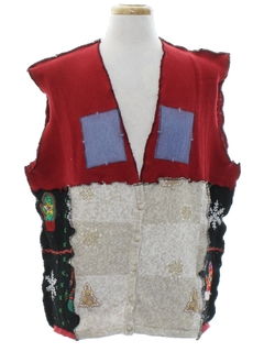 1980's Unisex Hand Made Patchwork Ugly Christmas Sweater Vest