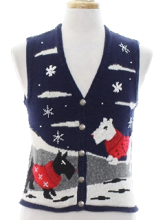 1980's Unisex Girls or Boys Dog-Gonnit Ugly Christmas Sweater Vest
