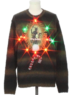 1980's Mens Multicolor Lightup Krampus Ugly Christmas Sweater
