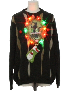 1980's Mens Krampus Multicolor Lightup Ugly Christmas Sweater