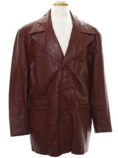 1970's Mens Leather Coat jacket