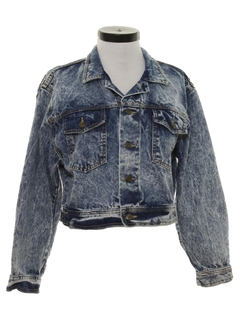 1980's Womens Totally 80s Acid Washed Denim Jeans Jacket