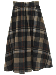 1980's Womens Plaid Wool Skirt