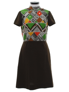 1970's Womens Mod Op-Art Geometric Knit Dress