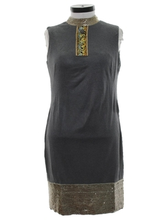 1970's Womens Mod Asian Inspired Cocktail Shift Dress