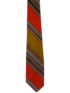 1960's Mens Mod Diagonal Striped Necktie