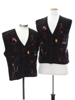 1980's Unisex Ladies or Boys Ugly Christmas Matching Set of Sweater Vests