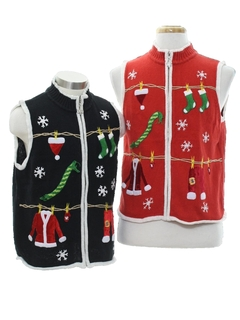 1980's Unisex Ugly Christmas Matching Set of Sweater Vests