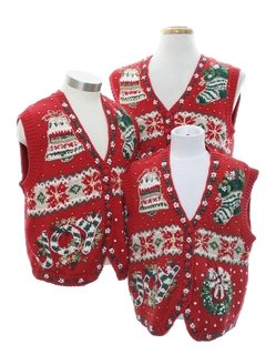 1980's Womens Ugly Christmas Matching Set of Three Sweater Vests