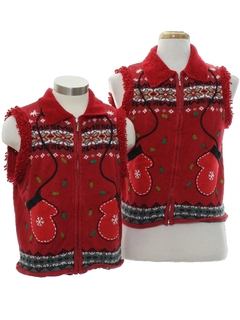 1980's Womens Ugly Christmas Matching Set of Sweater Vests