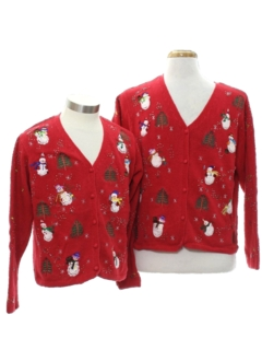 1980's Womens Ugly Christmas Matching Set of Cardigan Sweaters