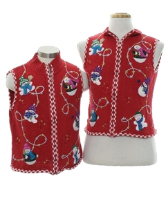 1980's Womens or Girls Ugly Christmas Matching Set of Sweater Vests