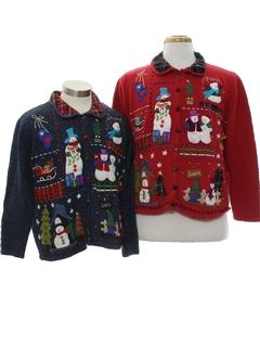 1980's Womens Ugly Christmas Matching Set of Sweaters