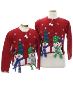 1980's Womens/Girls Ugly Christmas Matching Set of Sweaters