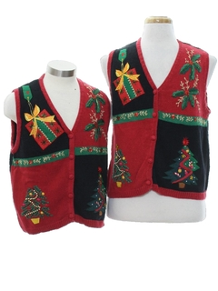 1980's Womens Matching Set of Ugly Christmas Sweater Vests