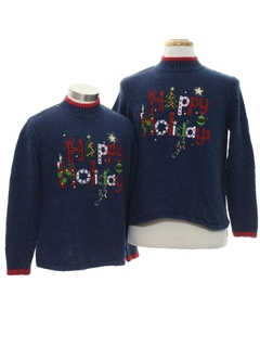 1980's Unisex and Ladies or Boys Ugly Christmas Matching Set of Sweaters