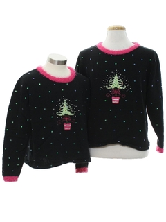 1980's Unisex and Ladies Ugly Christmas Matching Set of Sweaters