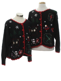 1980's Unisex Country Kitsch Style Ugly Christmas Matching Set of Sweaters