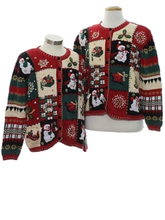 1980's Womens Country Kitsch style Ugly Christmas Matching Set of Sweaters