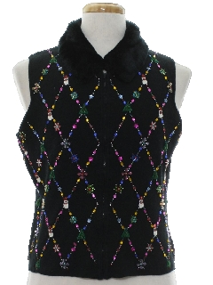 1980's Womens Ugly Christmas Cocktail Sweater Vest
