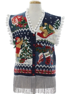 1980's Unisex Bear-riffic Hand Embellished Ugly Christmas Sweater Vest