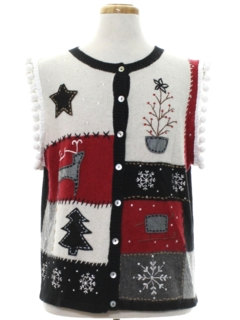 1980's Unisex Hand Embellished Country Kitsch Style Ugly Christmas Sweater Vest