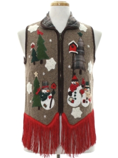 1980's Unisex Hand Embellished Country Kitsch Ugly Christmas Sweater Vest