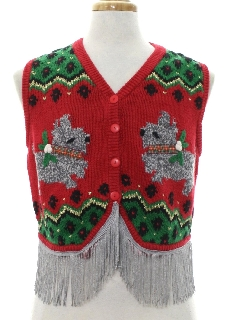 1980's Womens Hand Embellished Dog-Gonnit Ugly Christmas Sweater Vest