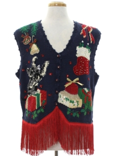1980's Unisex Hand Embellished Cat-Tastic Ugly Christmas Sweater Vest