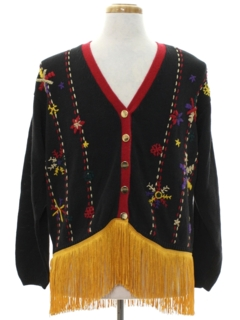 1980's Unisex Hand Embellished Ugly Christmas Cardigan Sweater